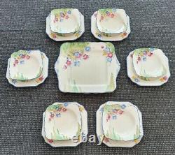 Art Deco Crown Devon England Dessert Set Dinner Clarice Cliff Susie Cooper