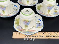 Aynsley Bluebell Time Cream Tea Cup Saucer Set x 4 Bone China England