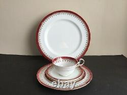 Aynsley Bone China Durham Maroon 4 Place Settings Of 5 Pieces Total 2o Pieces