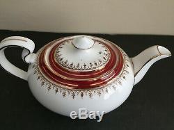 Aynsley Bone China Durham Maroon Tea Set Teapot Lidded Sugar Bowl & Creamer