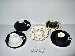 Aynsley China Mixed Lot 5 Cup & Saucer Sets Roses Cobalt Flowers Gold England