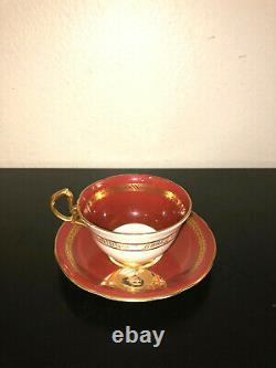 Aynsley England Bone China Tea Cup Set Queen Elizabeth Burgundy Gold Trim D1027