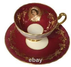 Aynsley England Bone China Tea Cup Set Queen Elizabeth Burgundy Gold Trim D1199