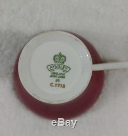 Aynsley England Cup Saucer Bone China Set of 5 Pattern # AYN1713 Red Gold Corset