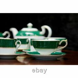 Aynsley Fine Bone China President Dinner & Tea Set Green/Gold England 36Pc