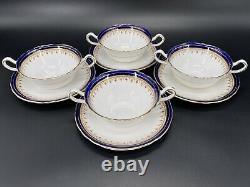 Aynsley Leighton Cobalt Cream Soup Bowl Saucer Set x 4 Bone China England