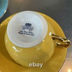 Aynsley Orchard Gold teacup & saucer cup 3 set Fine Bone China ENGLAND 2 spoons