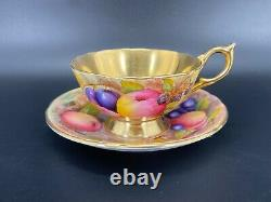 Aynsley Signed Orchard Gold Tea Cup Saucer Set Bone China England