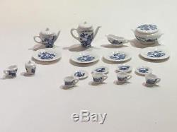Caverswall England 22 Dollhouse Miniature Porcelain Blue White China Set Artisan