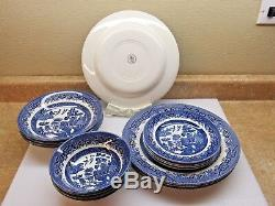 Churchill Blue Willow China (4) Place Settings Made England Microwave Dishwasher