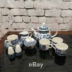 Churchill England China Blue Willow Tea Set 15 piece Free Extras