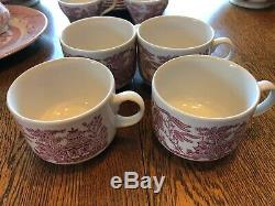 Churchill England Willow Rosa Pink China Set Of 40 Pieces -excellent Condition