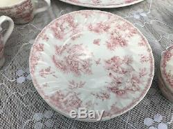 Churchill Pink Toile 42 Pc Fine China Dinner Dining Set England