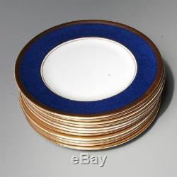 Coalport Athlone Blue, Set Of 10 Rimmed Soup Bowls, Bone China, Made In England