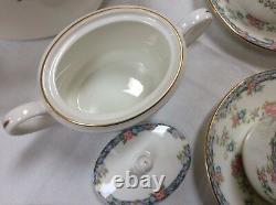 Coalport China Tea, Dessert, Brunch Set 6 England Rare NEW Trellis Rose
