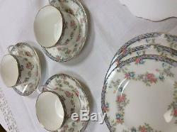Coalport China Tea, Dessert, Brunch Set 6 England Rare NEW Trellis Rose Floral