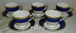 Coalport England Athlone Blue Set of 5 Footed Coffee Cups & Saucers Bone China
