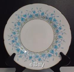 Coalport Harebell Turquoise Bone China Dinner Plates Made in England, Set of 10