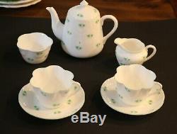 Crown Staffordshire England Shamrock Tea Set Fine Bone China Rare Find