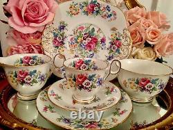 Delphine England Bone China Tea Set Spring Song Tea Cups Trios Pink Roses 21 Ite