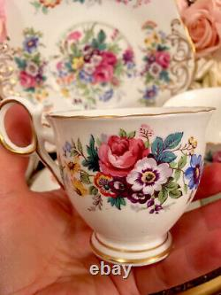 Delphine England Bone China Tea Set Spring Song Tea Cups Trios Pink Roses Floral