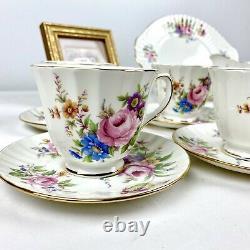 Duchess Bone China 21pc Tea Set Pink Blue Purple Flowers Service for 6 in Box