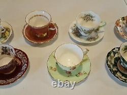 England Bone China Teacup and Saucer Sets Lot (7)