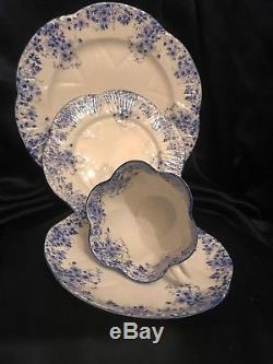 FAB! SHELLEY England Bone China Dainty Blue 4PC Set Cup, Saucer & 2 Plates