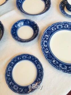 FLOW BLUE CHINA SET 53 Pcs 8 PLACE SETTINGS SERVING WH GRINDLEY GLENMORE ENGLAND