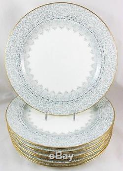 Fab Set 8 Dinner Plates Antique Royal Cauldon England Bone China Gray Gold White