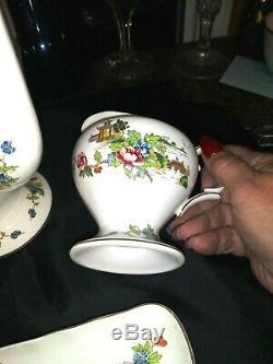 Fine Bone China Crown Staffordshire England Pagoda TEA SET WITH MINT TRAY