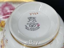 Foley Golden Pink Rose 2726 Tea Set for 4 Cake Plate Bone China England