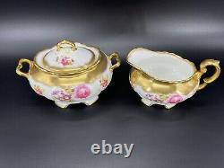 Foley Golden Pink Rose Bouquet 2726 Large Creamer Sugar Set Bone China England