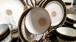 Fords China Co England 35 piece Tea Set or Dessert Navy/White/Gold Vintage