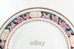 Full Set 12 Dinner Plates Royal Doulton Bone China E9576 Aqua Blue Pink Flowers