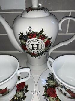 HENDRICK'S GIN TEA SET CUP TEAPOT Barware Cocktail England Bone China EUC Rare