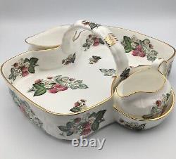 Hammersley & Co 3 Piece Set Sugar Creamer Basket Tray Bone China Made In England