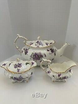 Hammersley England Victorian Violets Pattern Bone China Teapot Cream Sugar Set