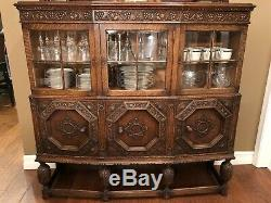 Hand-carved Antique English Tiger Oak Dining Set-Table, Chairs, China cabinet