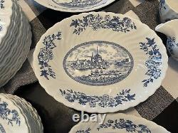 Johnson Bros. England TULIP TIME Blue/White China Dinnerware 78 Piece Set