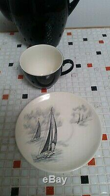 Johnson Bros England the yacht race mid century china coffee set for 6 15 pieces