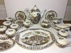 Johnson Brothers Heritage Hall Brown China Set Svc For 8 Made In England 25 Pc