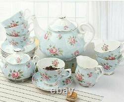 LeBlue Floral England British Style Fine Bone China Tea Set 15 pieces Blue