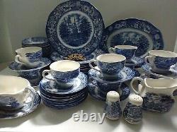 Liberty Blue Staffordshire England 70s Vintage 61 Piece China Set