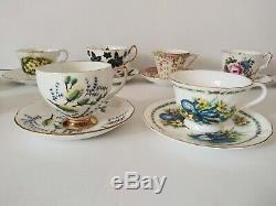 Lot Of 10 English Bone China Teacup & Saucer Sets Floral Royal Albert Aynsley