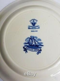 MASON'S China ENGLAND AMERICAN MARINE Blue Transferware 9 1/2 PLATES Set of 4