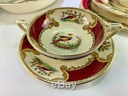 MYOTT 59 Piece Dinner China Set Chelsea Bird Staffordshire RED GOLD England