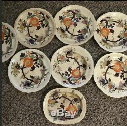 Mason's patent ironstone fine china plate ENGLAND Vintage mandarin SET OF 8