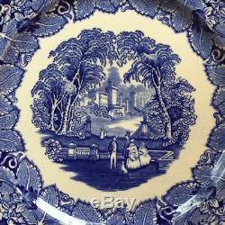 Masons Patent Ironstone China Vista England Blue 10 3/4 Dinner Plates Set Of 4