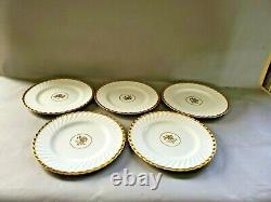Minton England Gold Rose Set of 5 Dinner Plates Bone China English 10.75'' W